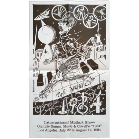 """International Mailart Show - Olympic Games, Music & Orwell's """"1984""""."""" Base 2 Gallery, Los Angeles, July 22 to August 112, 1984"""