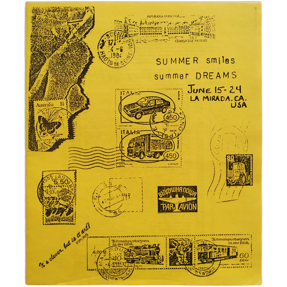 "Mail Art '84 - ""Summer Smiles / Summer Dreams"". La Mirada Community Services, CA, U.S.A., June 15 - 24, 1984"