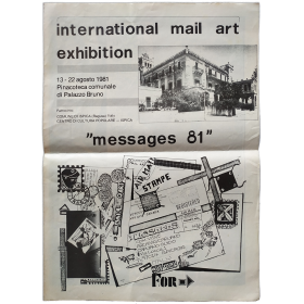 """""""Messages 81"""". International Mail Art Exhibition. Pinacoteca comunale di Palazzo Bruno, Ispica, Italia, 13-22 agosto 1981"""