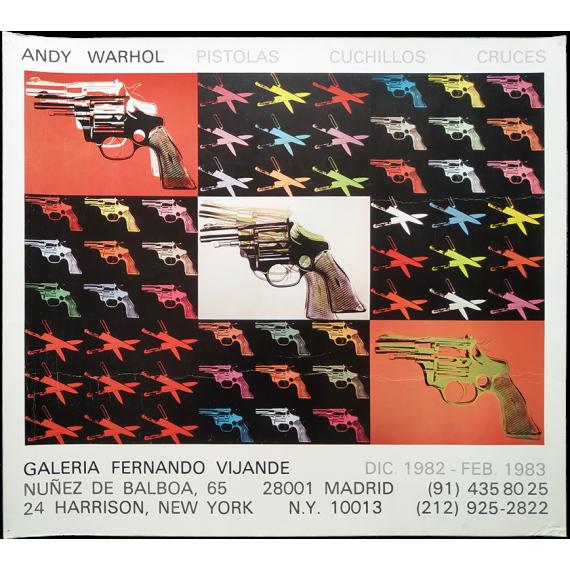 """Andy Warhol - """"Pistolas, Cuchillos, Cruces"""". Galería Fernando Vijande, Madrid, Dic. 1982 - Feb. 1983"""