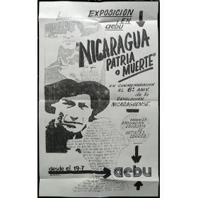 """""""Nicaragua patria o muerte"""". AEBU, Montevideo, del 19 al 31 de julio de 1985"""