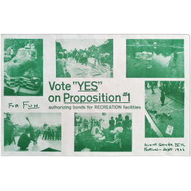 "Vote ""YES"" on proposition 1: authorizing bons fro RECREATION facilities. Avant Garde IVth Festival, [New York], Sept. 1966"