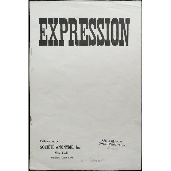 Expression. Société Anonyme, New York, 1923