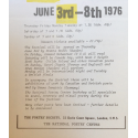 Sound Poetry. 9th International Festival. Poets from: Canada, USA, France, Sweden, Denmark, British Isles. June 3rd - 8th 1976